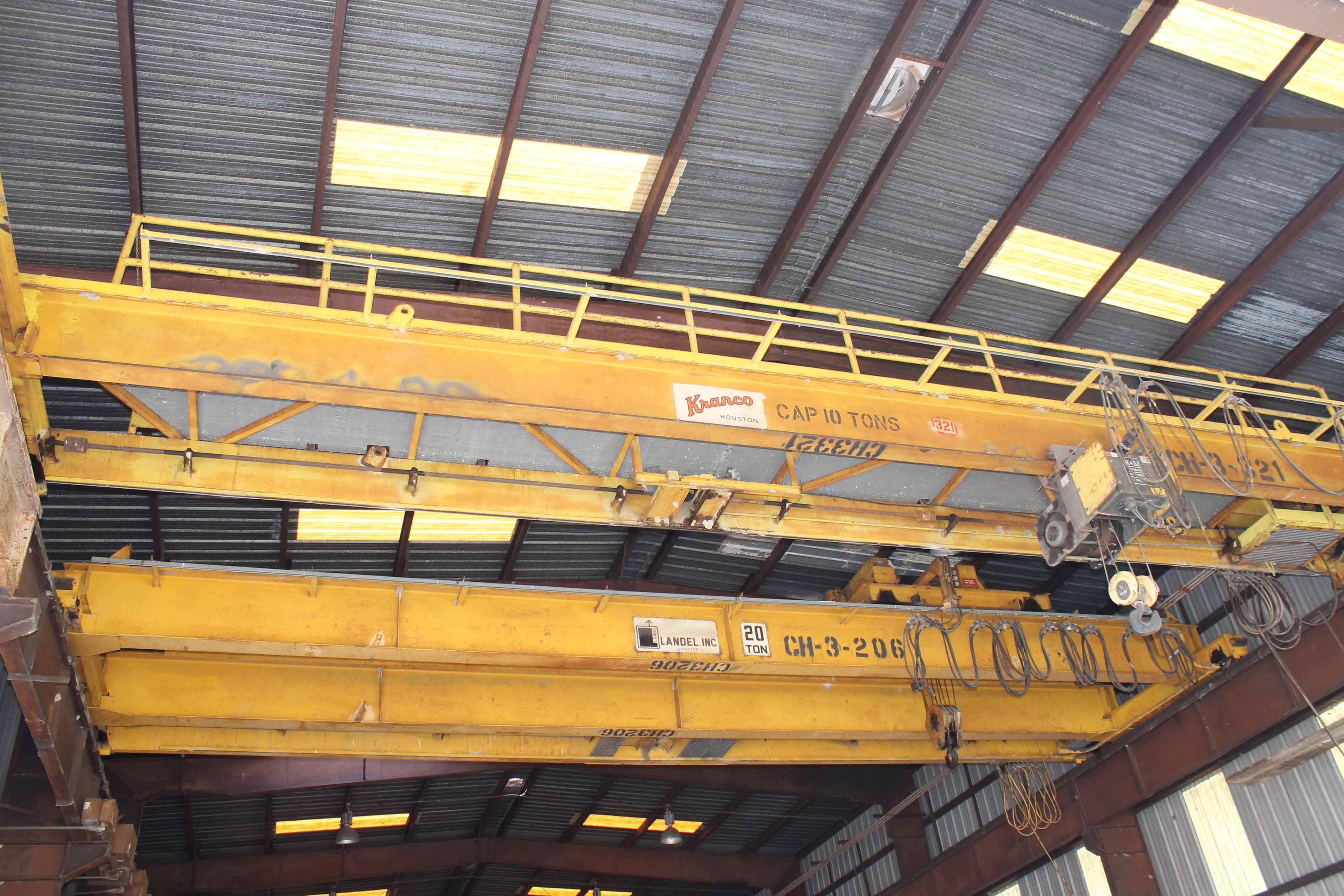 "Lot 21 - Overhead Bridge Crane, Kranco 10 ton x 44'-7-1/2"" span, single girder, top riding bridge, underslung"