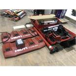 2 HILTI GANG CHARGERS, 2 TRIPODS & BATTERY