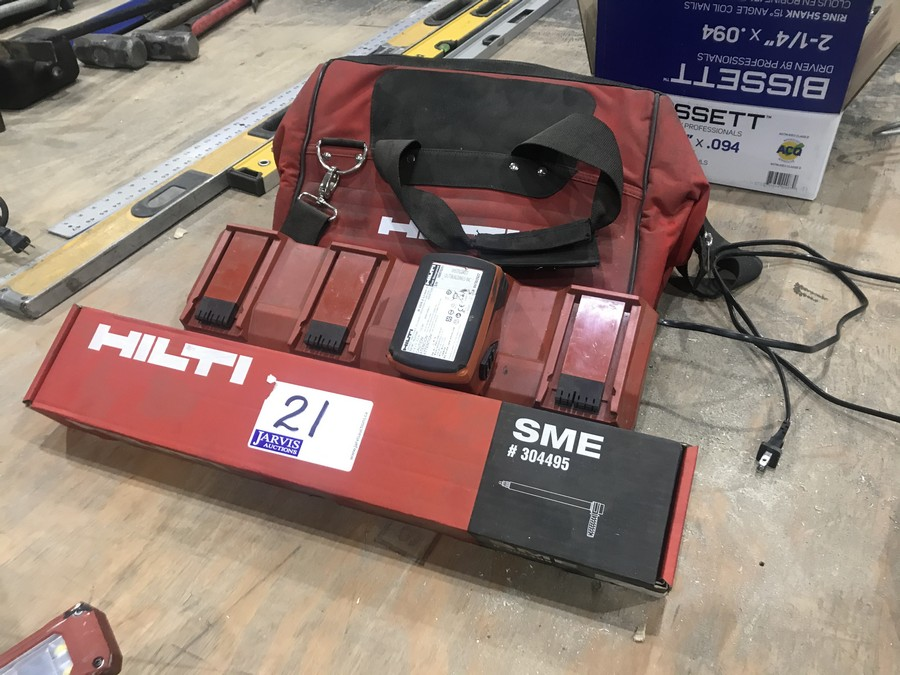 Lot 21 - HILITI FLOORING DRILL ATTACHEMENT, GANG CHARGER, TOOL BAG & BATTERY