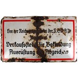 Lot 297 - 1933 - 1945 Third Reich Germany, A draper's enamel sign declaring the shop to be licensed to sell