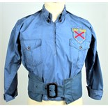 Lot 295 - 1930s A uniform shirt and belt of the Irish Comrades Association or 'Blueshirts'. A blue cotton