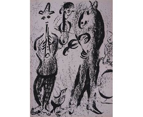 After Marc Chagall (Russian-French 1887-1985), Les Saltimbanques, lithograph, signature verso, mounted and framed. Measuremen