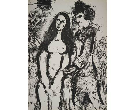 After Marc Chagall (Russian-French 1887-1985), Le Clown Amoureux, lithograph, signature verso, mounted and framed. Measuremen