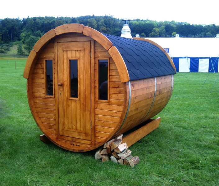 Lot 30400 - V Brand New Superb 2m Garden Sauna Barrel *FULLY ASSEMBLED* - Powerful Harvia Electric Heater -