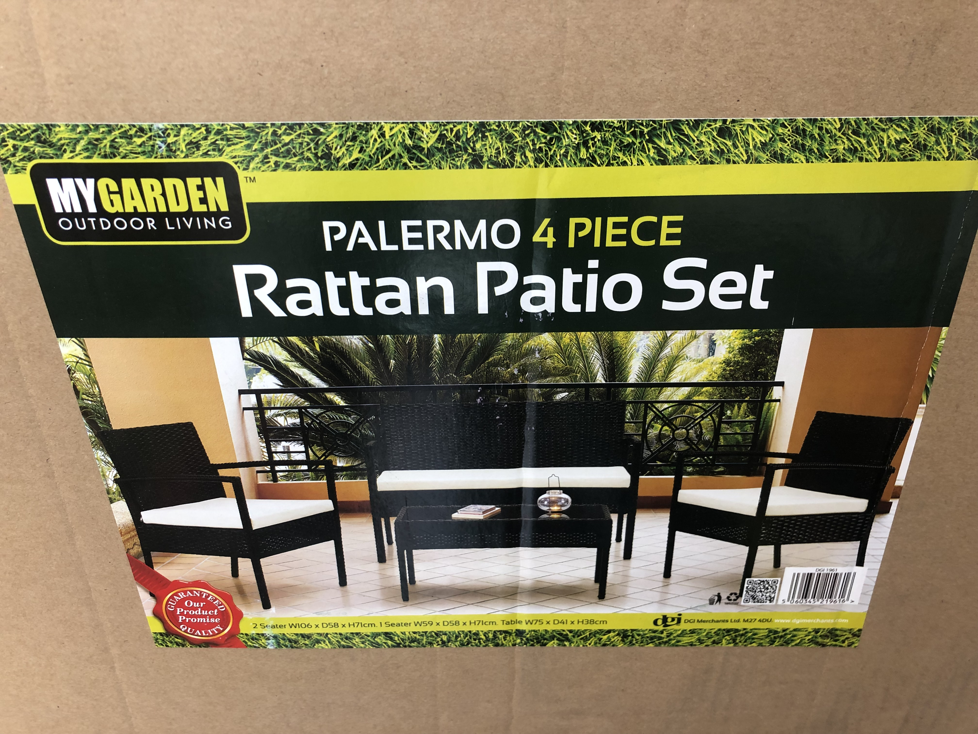 Lot 30470 - V Brand New Four Piece Palermo Ratan Patio Set