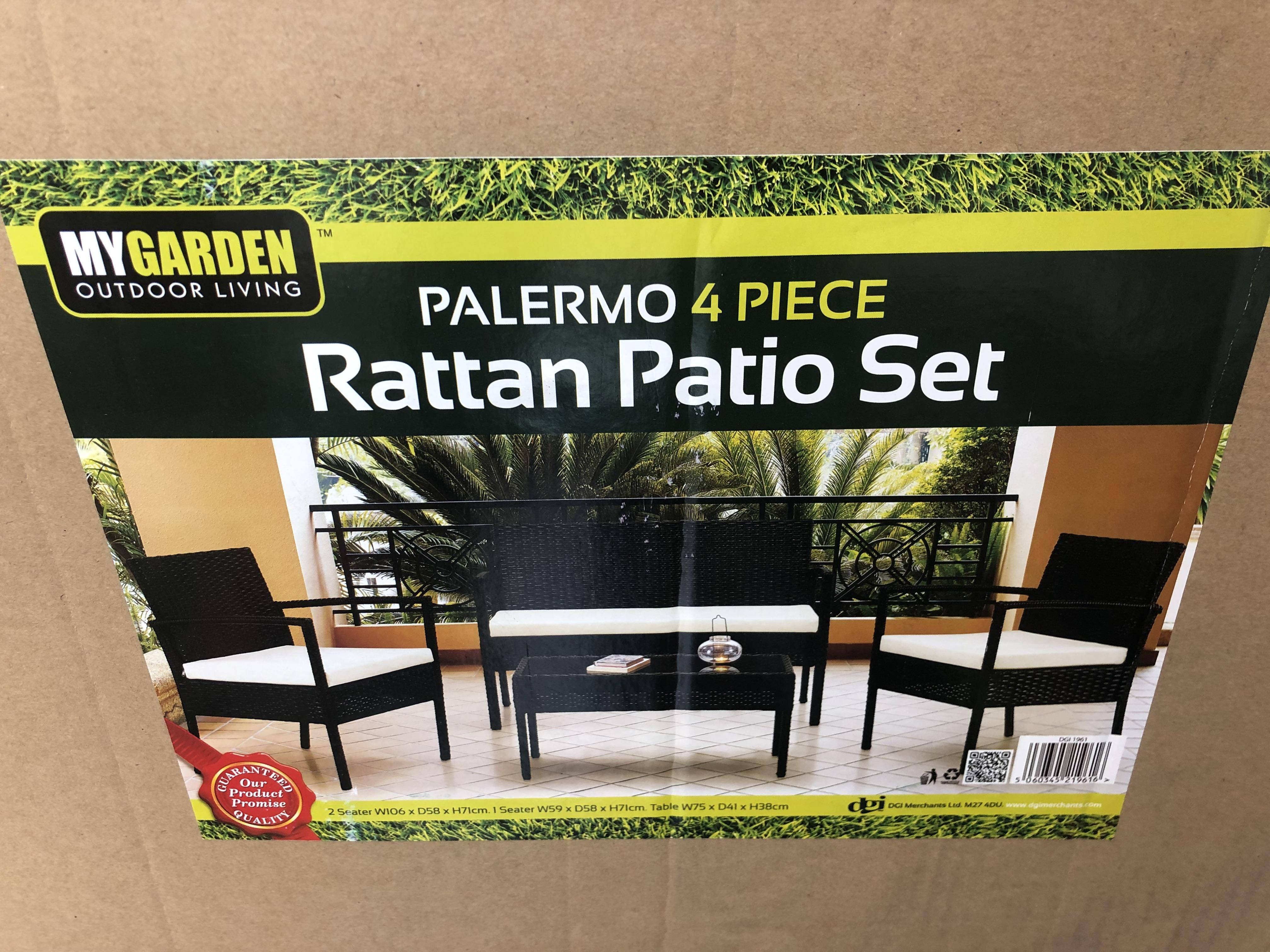 Lot 30353 - V Brand New Four Piece Palermo Ratan Patio Set