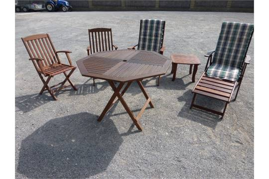 Teak Octagonal Garden Table Together With A Small Two Chairs And Clarecraft Recliners
