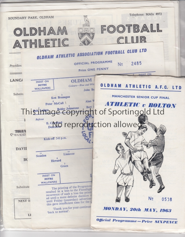 Lot 1783 - OLDHAM A collection of 15 Oldham home programmes 1963-1972 covering Lancashire Senior Cup,