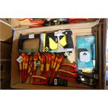 1 X Box Of Mixed Tools INC: Screwdrivers Electrical Testers Hack Saws + More