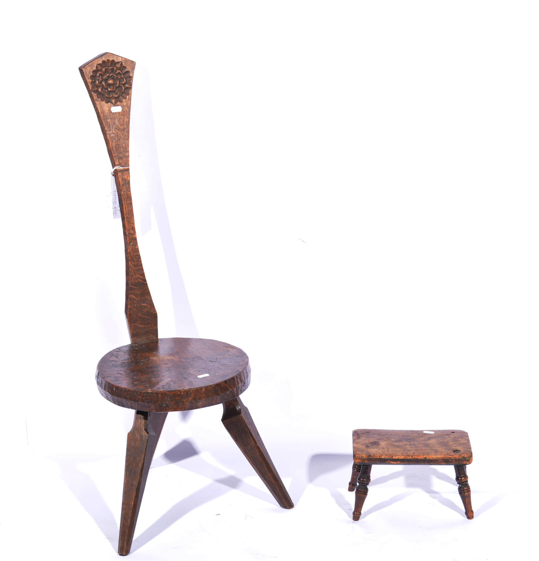 Carved oak spinning chair, narrow back, circular seat