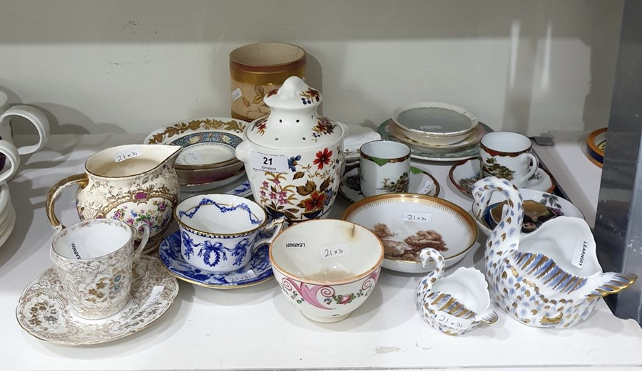 "Lot 21 - ""Floris"" pattern china pot pourri vase and cover, urn shaped, Coalport china cabinet cup and"