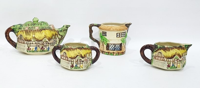 Lot 62 - Five items of Cottageware to include:- Vintage three piece tea set by Lingard Webster (& Co Ltd),