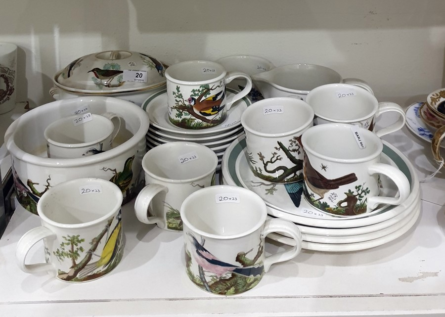 Lot 20 - Quantity of Portmeirion pottery tableware in various patterns including birds and flowers viz;