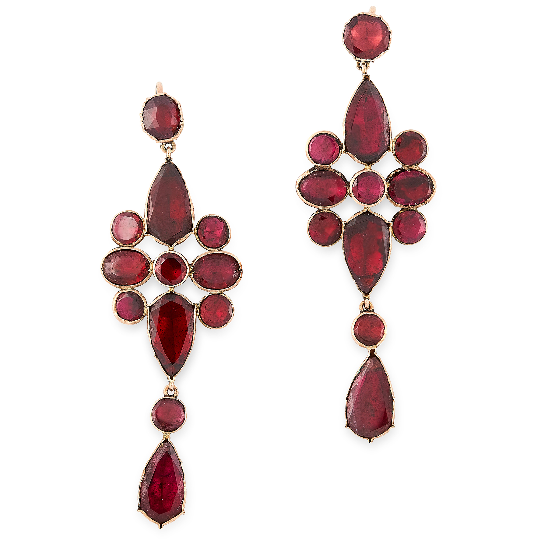 A PAIR OF ANTIQUE GARNET EARRINGS, 19TH CENTURY in yellow gold, the articulated body of each earring