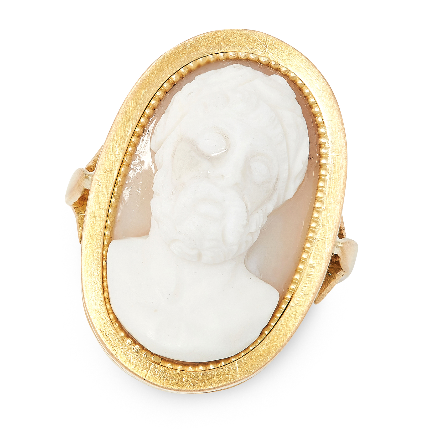 AN ANTIQUE CAMEO RING in high carat yellow gold, set with an oval cameo carved to depict the bust of