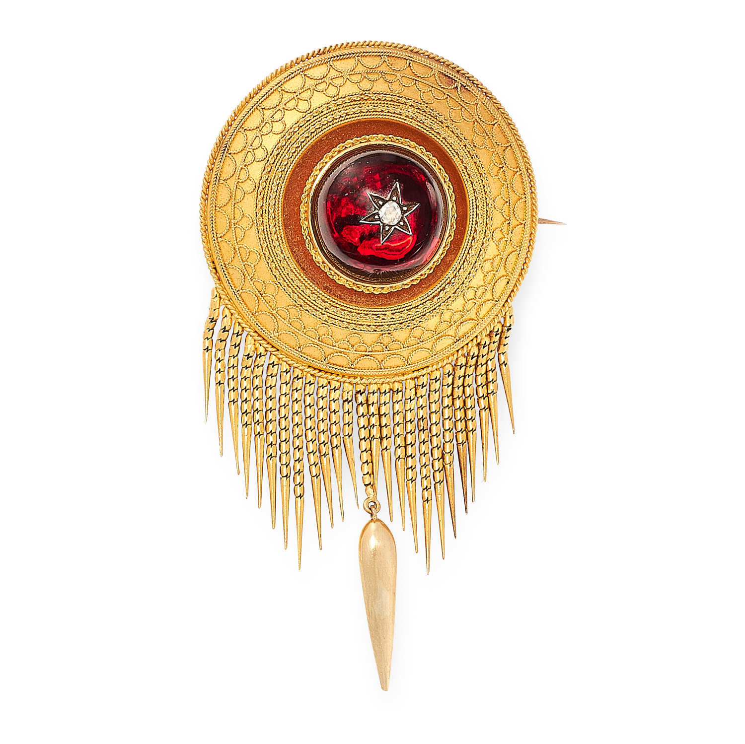 AN ANTIQUE GARNET AND DIAMOND MOURNING TASSEL BROOCH, 19TH CENTURY in high carat yellow gold, in the