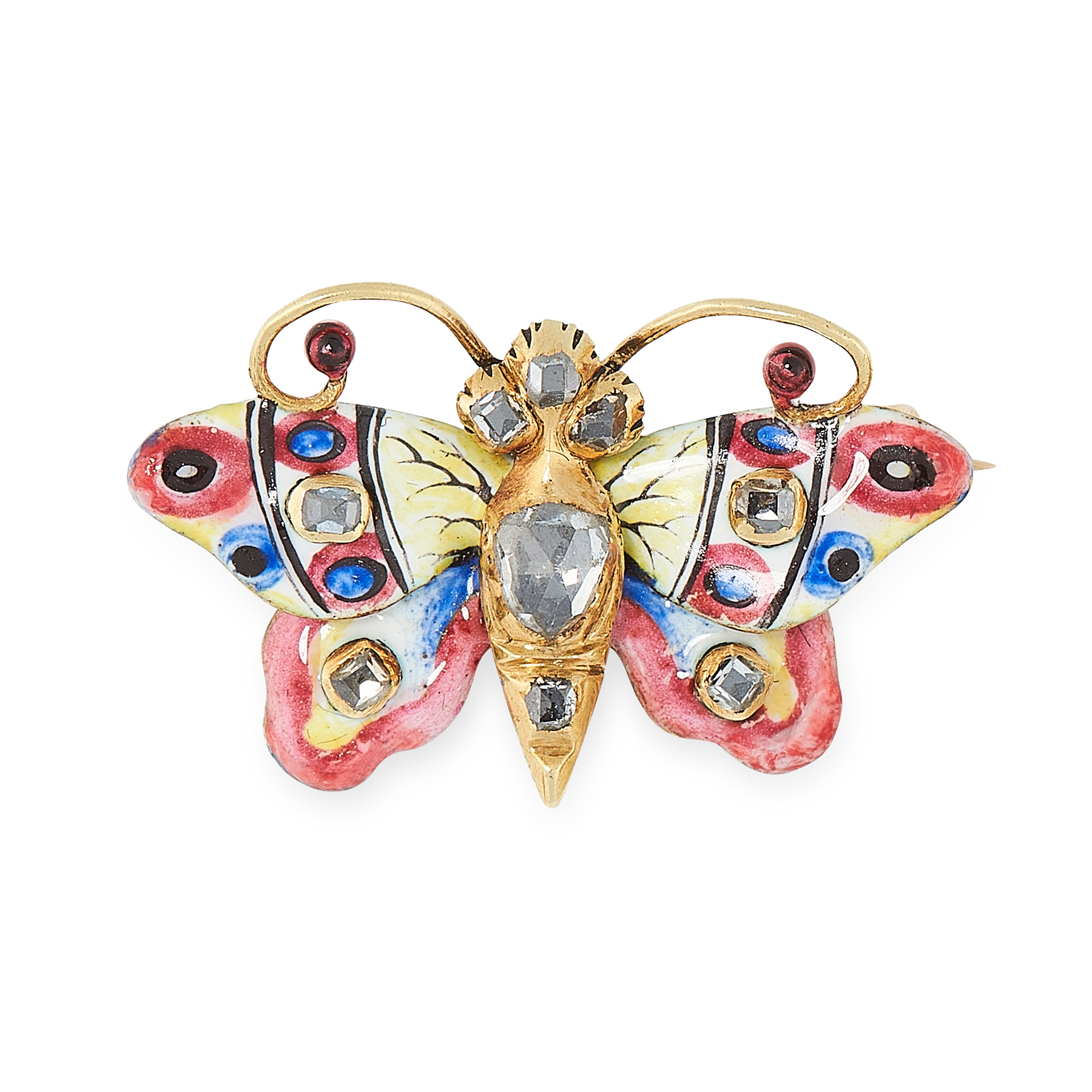 A RARE ANTIQUE DIAMOND AND ENAMEL BUTTERFLY BROOCH, 19TH CENTURY in yellow gold, designed as a