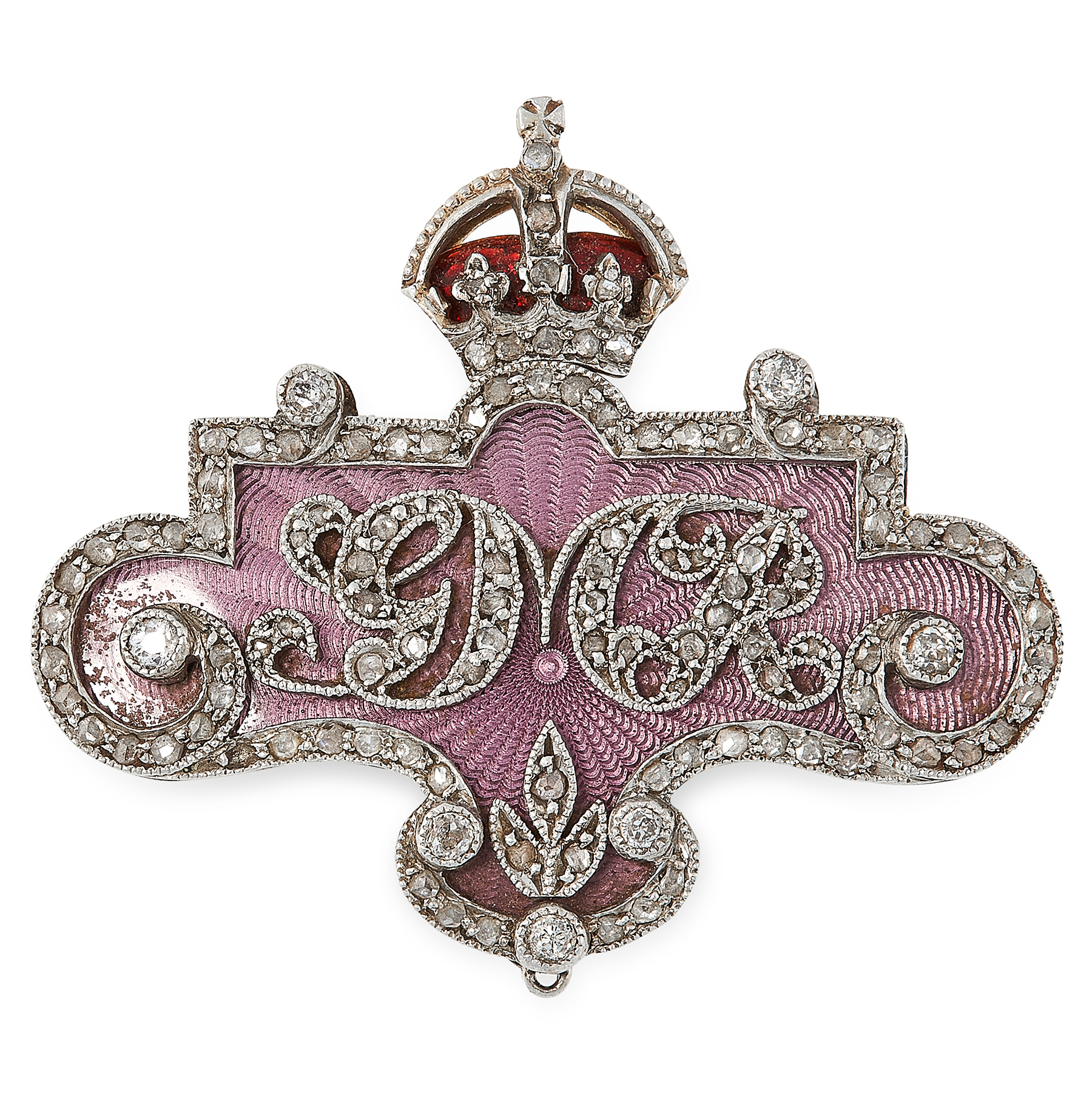 AN ANTIQUE DIAMOND AND ENAMEL ROYAL PRESENTATION BROOCH, CIFRCA 1915 in yellow gold and silver,