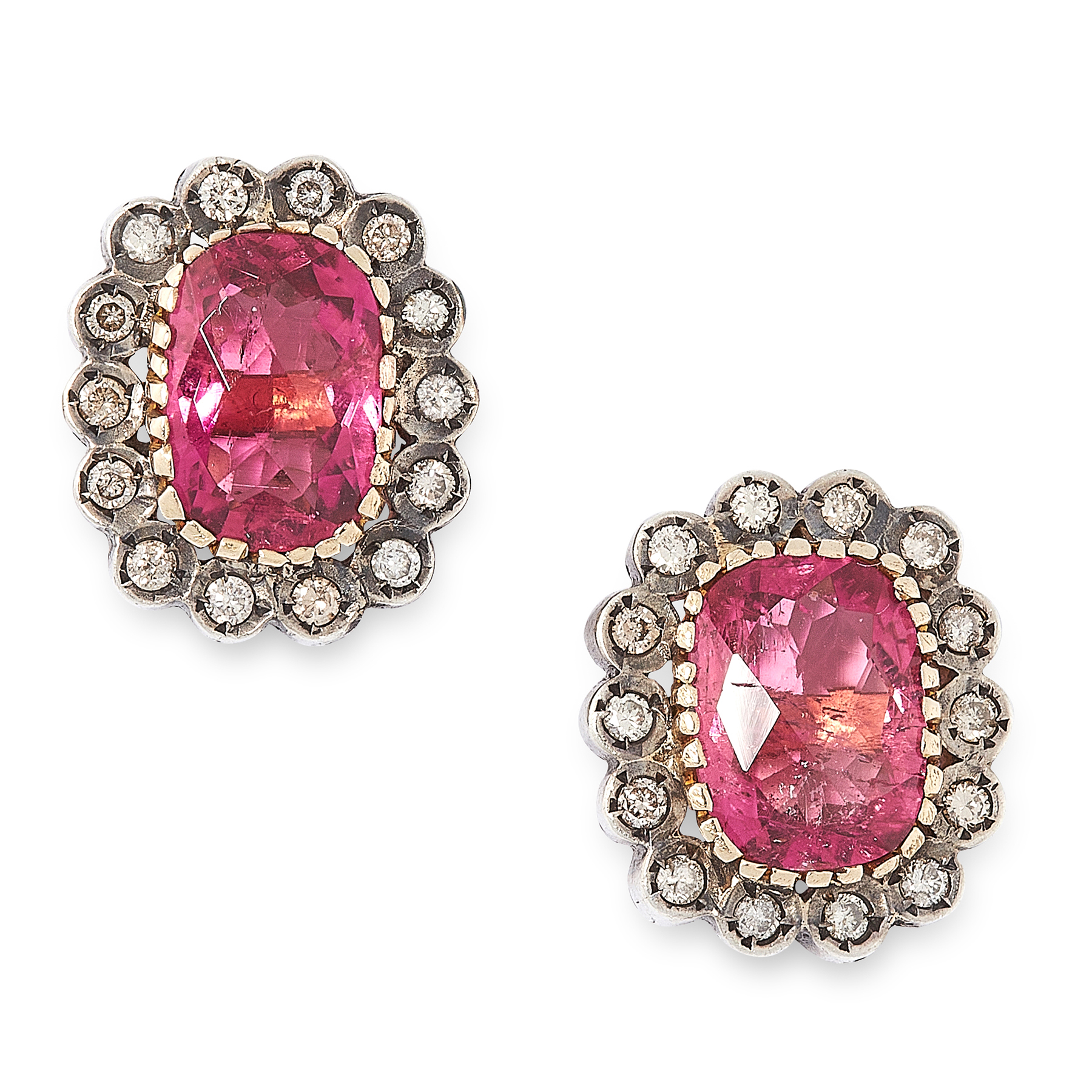A PAIR OF RUBELLITE TOURMALINE AND DIAMOND STUD EARRINGS in yellow gold and silver, each set with