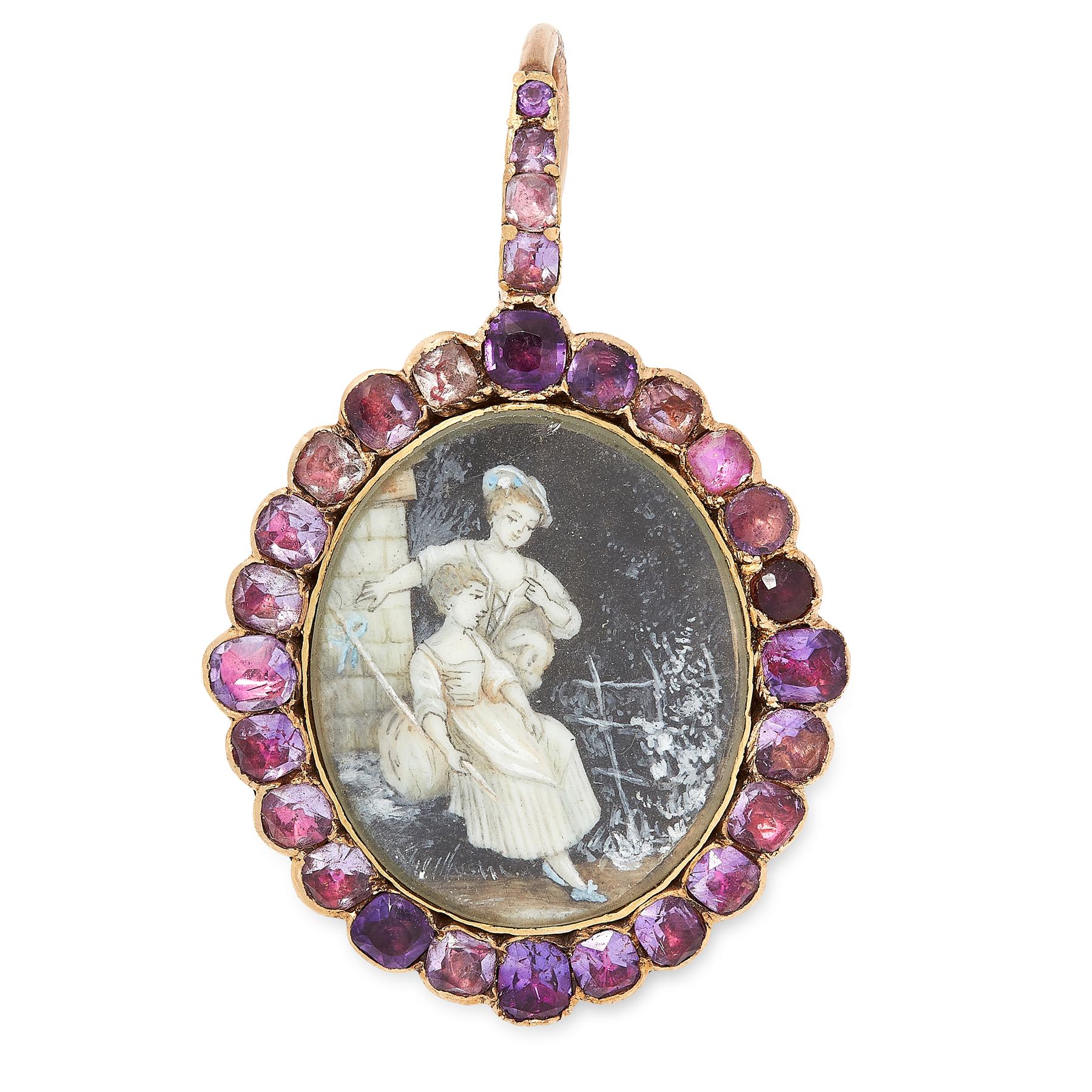 AN ANTIQUE AMETHYST PORTRAIT MINIATURE PENDANT, 19TH CENTURY in yellow gold, the oval aperture