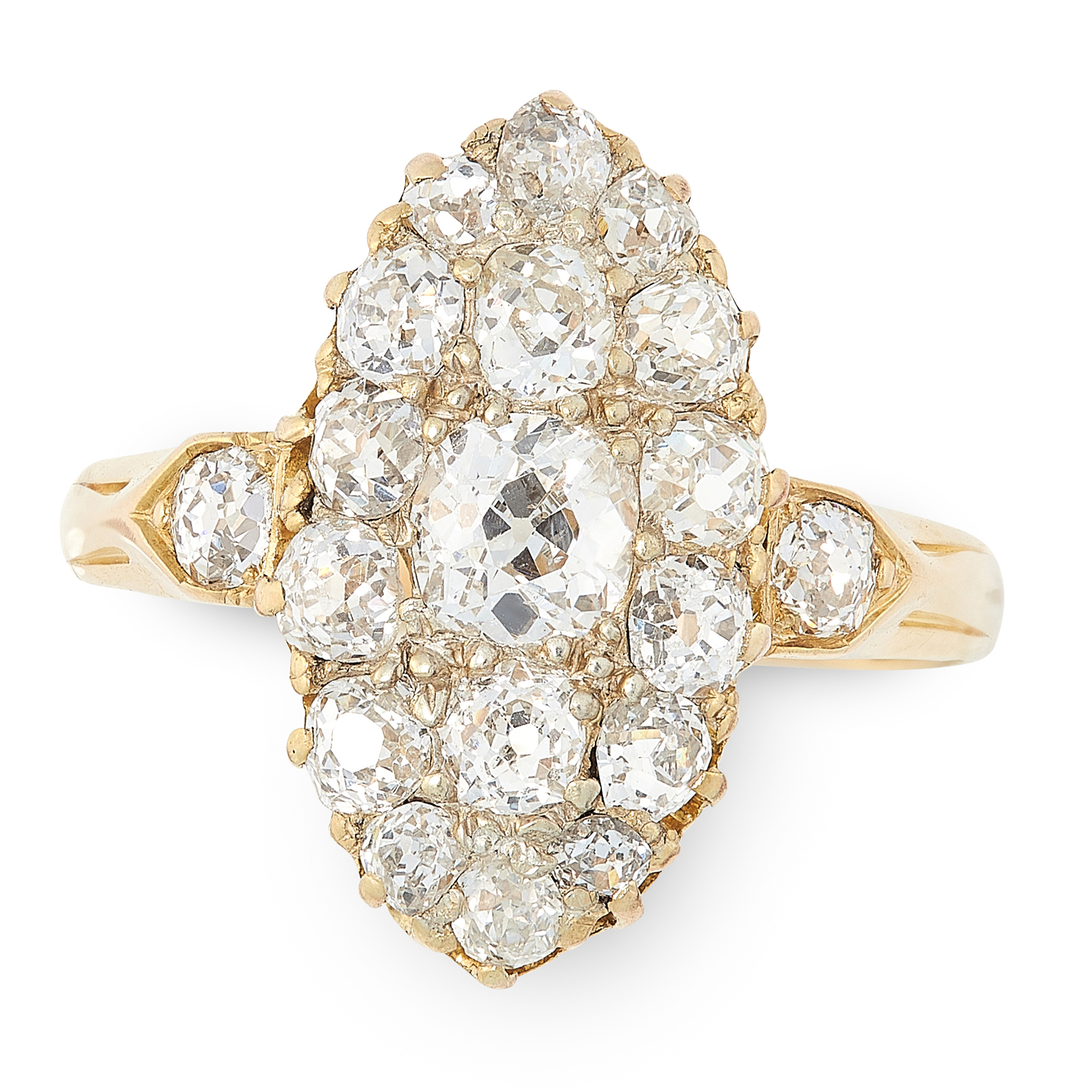 AN ANTIQUE DIAMOND CLUSTER RING in high carat yellow gold, the navette face set with a cluster of