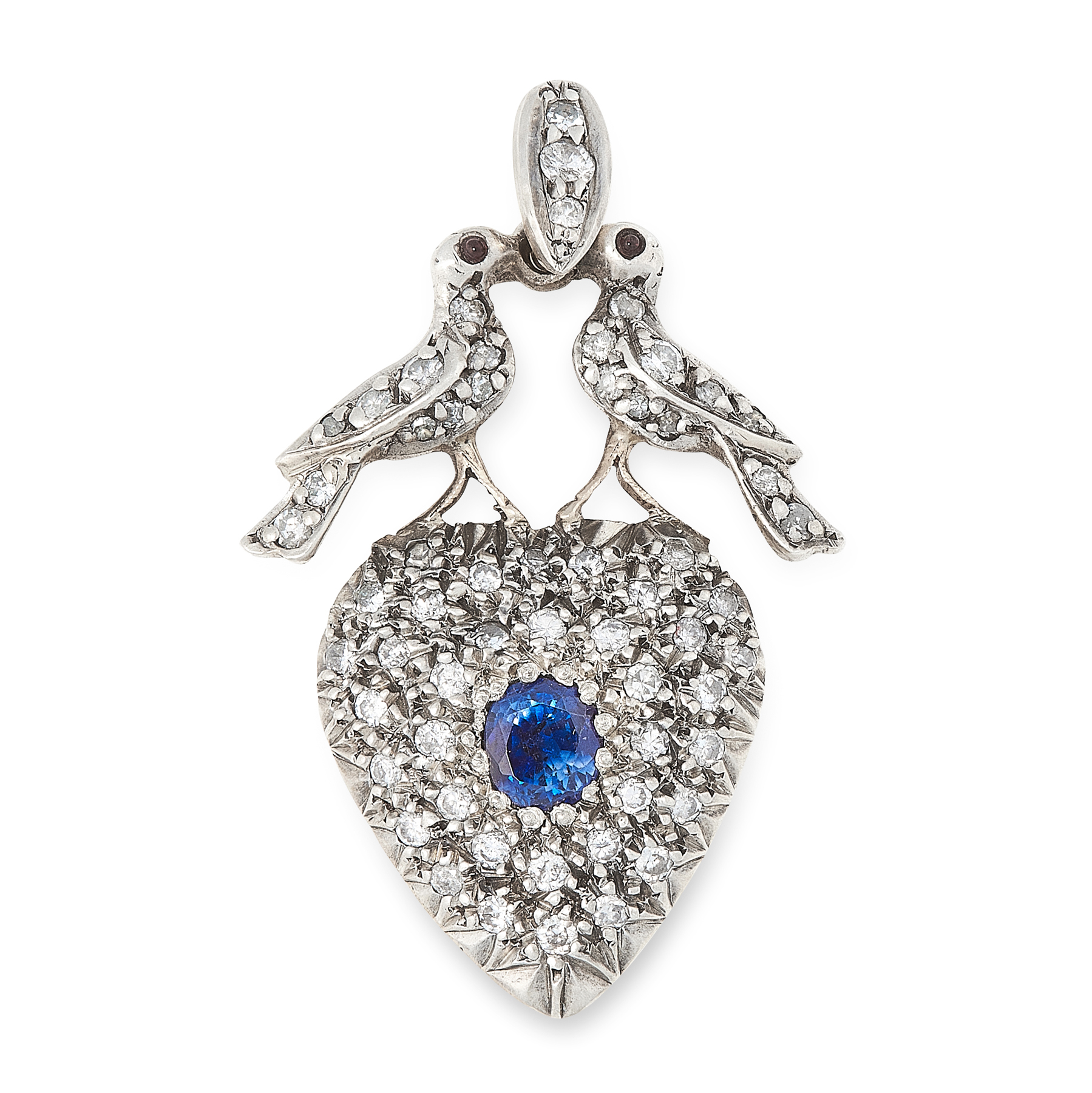 AN ANTIQUE SAPPHIRE AND DIAMOND MOURNING LOCKET PENDANT, 19TH CENTURY in yellow gold and silver,