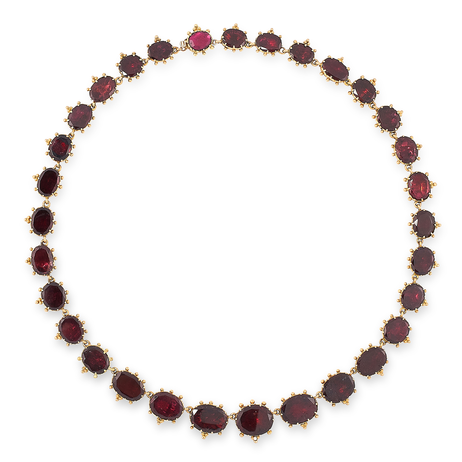 AN ANTIQUE GARNET RIVIERE NECKLACE, 19TH CENTURY in 18ct yellow gold, comprising a single row of
