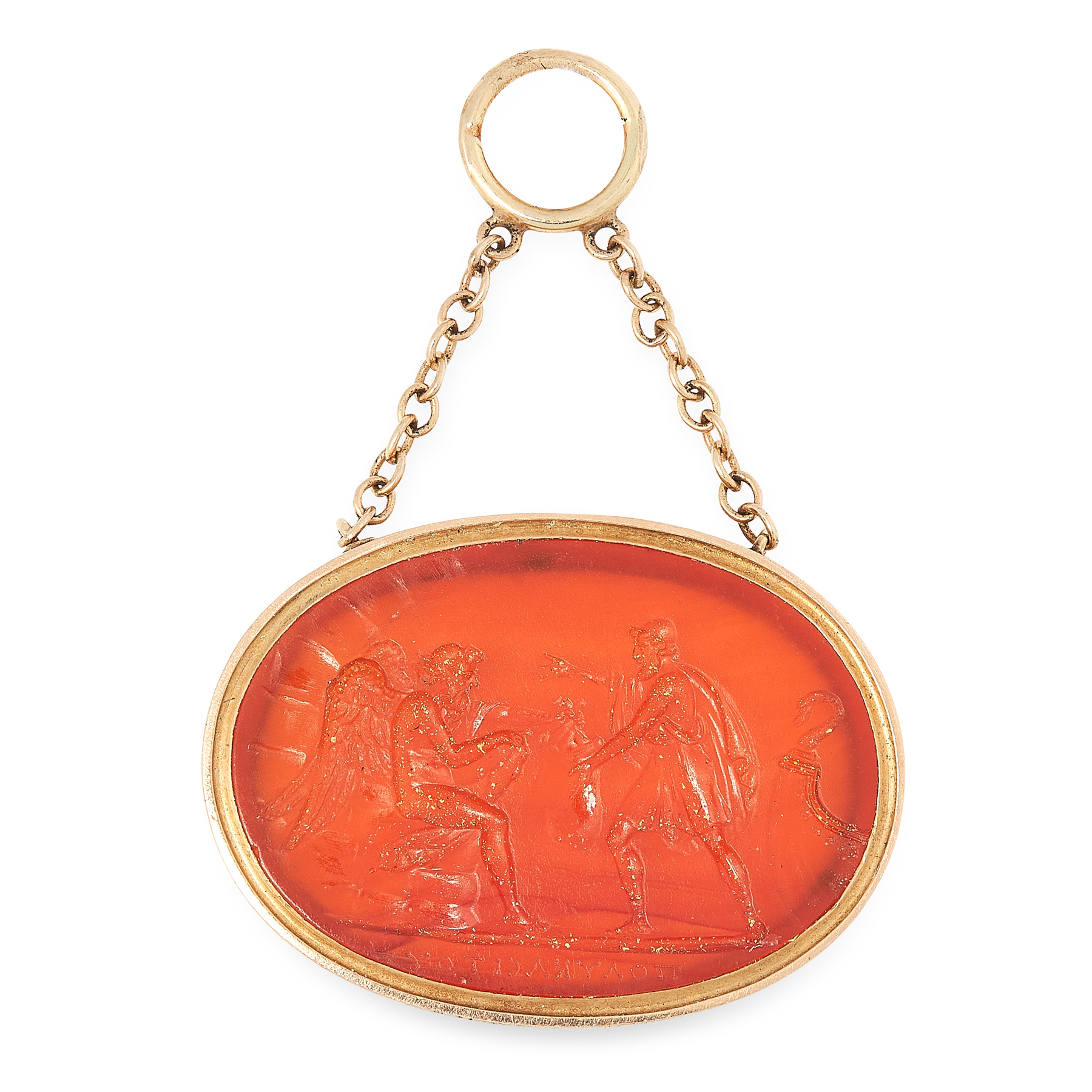 AN ANTIQUE CARVED CARNELIAN INTAGLIO, FORMERLY BELONGING TO PRINCE STANISLAS PONIATOWSKI carved to