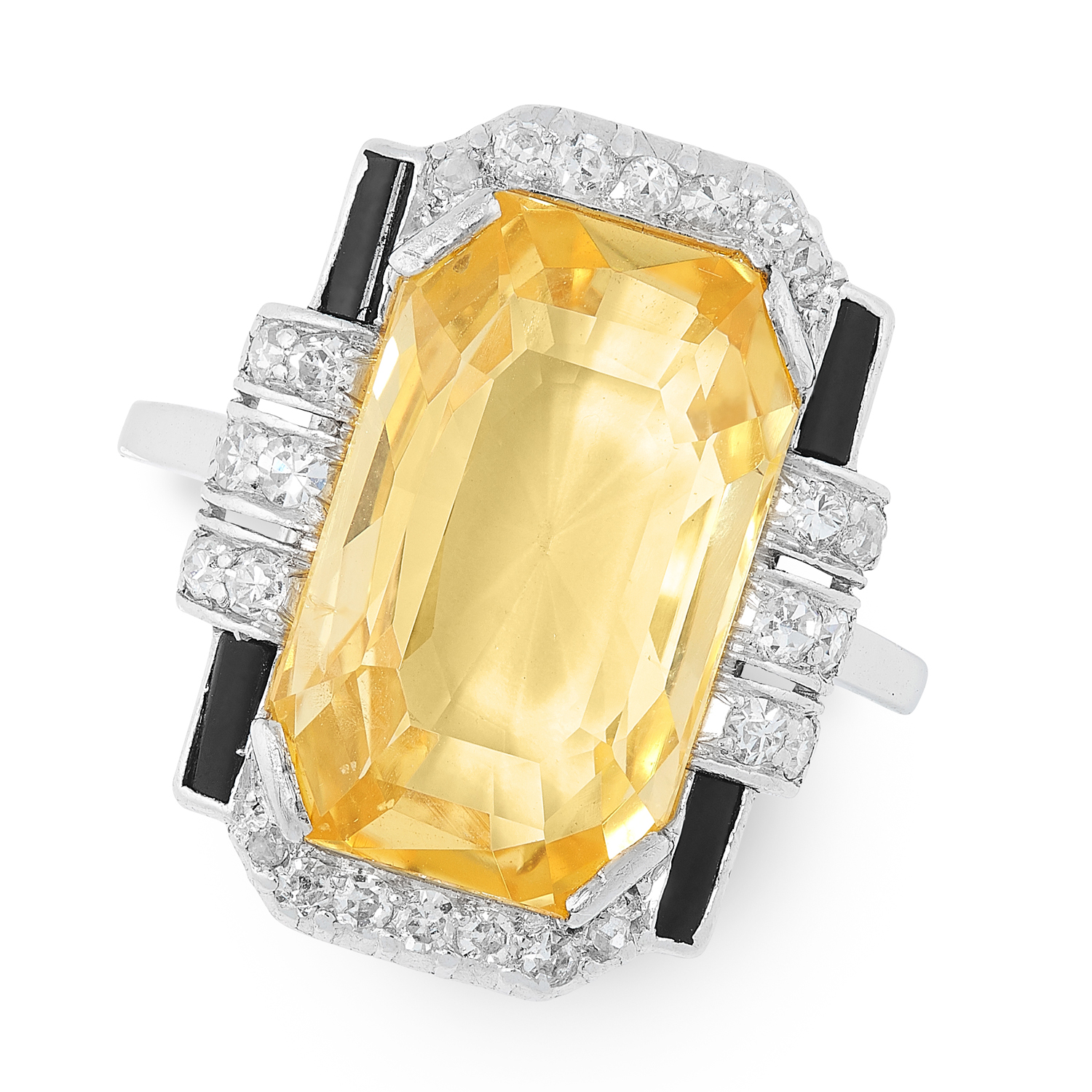 AN ART DECO CEYLON NO HEAT YELLOW SAPPHIRE, ONYX AND DIAMOND RING, EARLY 20TH CENTURY set with a