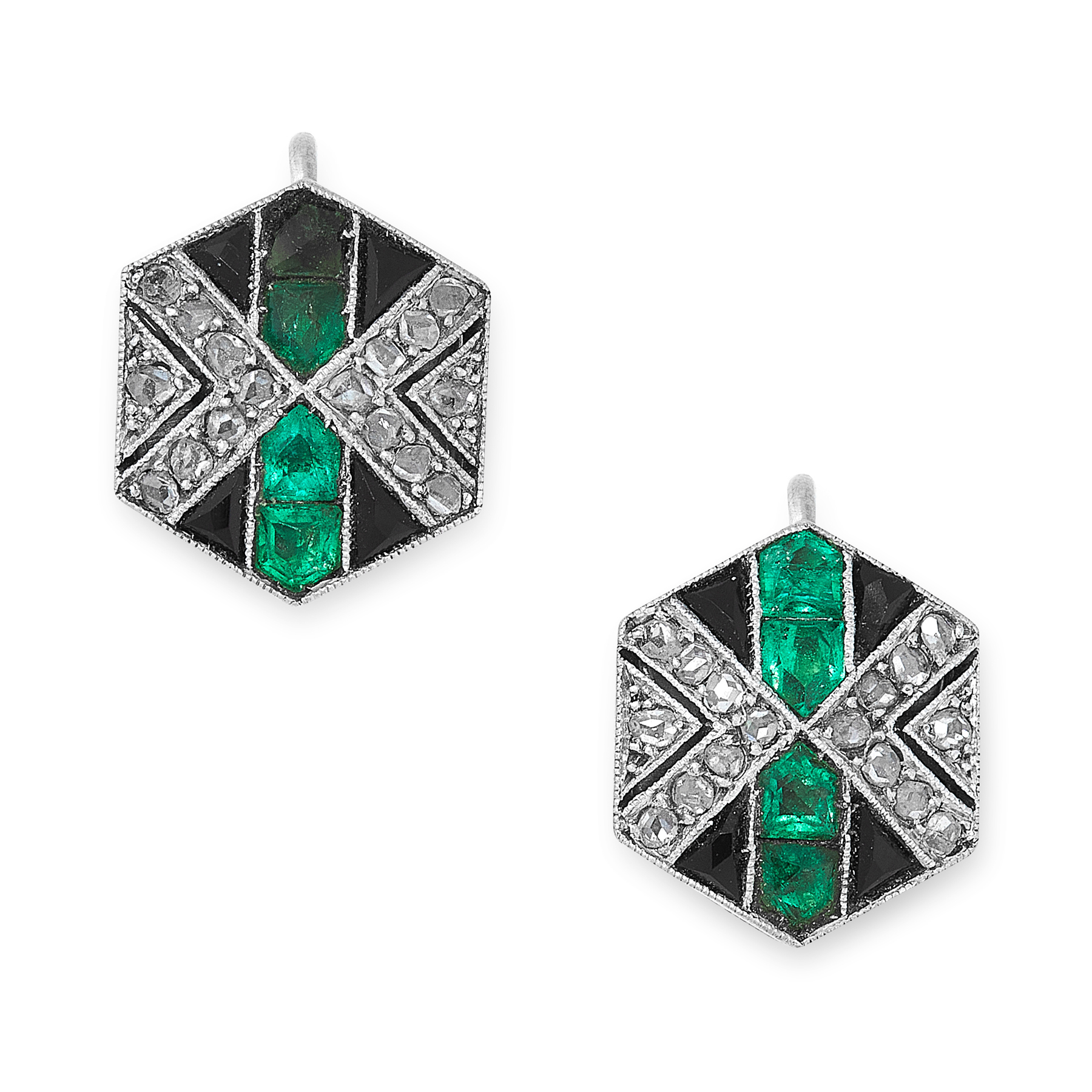 A PAIR OF ART DECO EMERALD, ONYX AND DIAMOND EARRINGS, EARLY 20TH CENTURY each of hexagonal