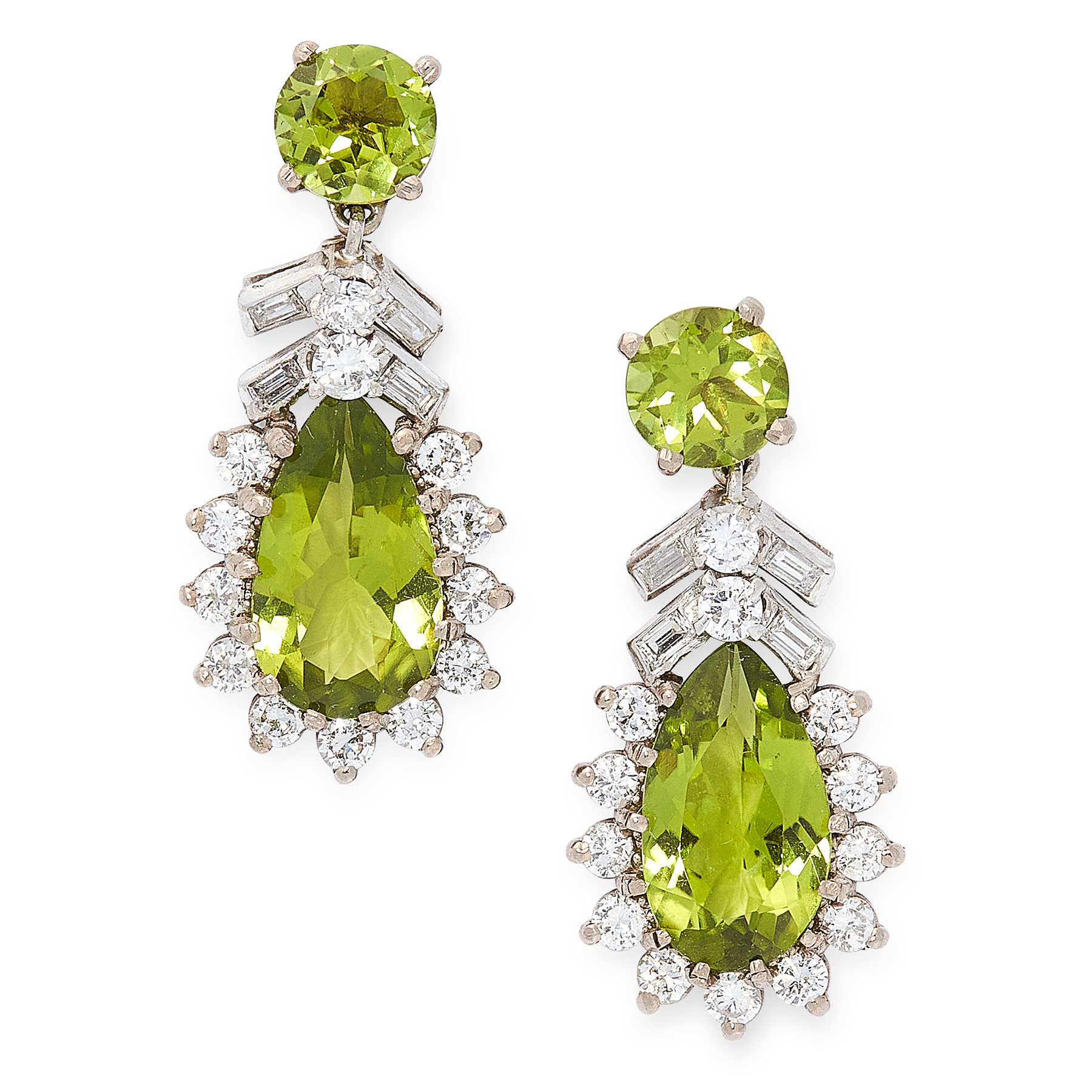 A PAIR OF PERIDOT AND DIAMOND EARRINGS in 18ct white gold, each set with a pear cut peridot