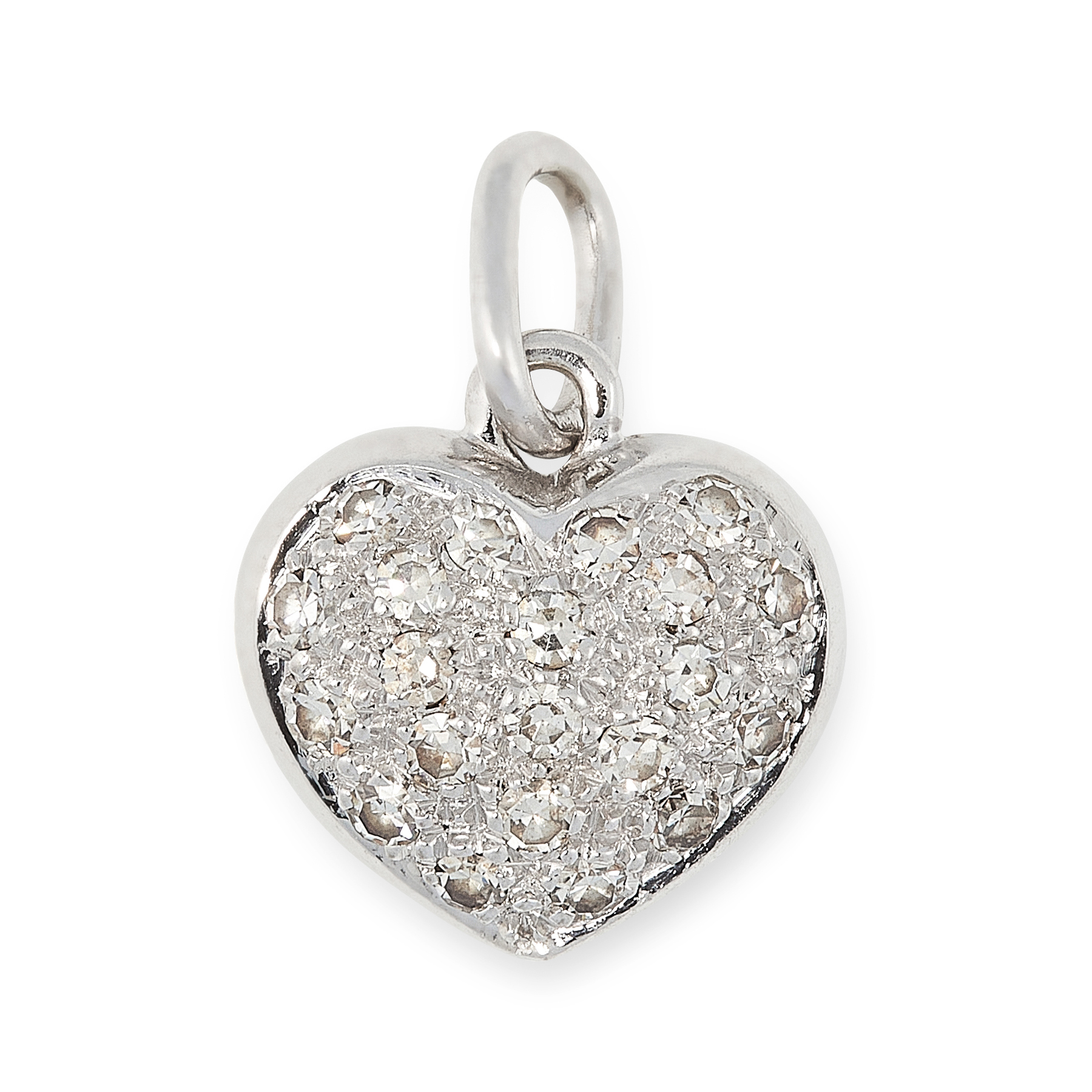 A DIAMOND HEART PENDANT in white gold, designed as a heart, set to one side with a cluster of single