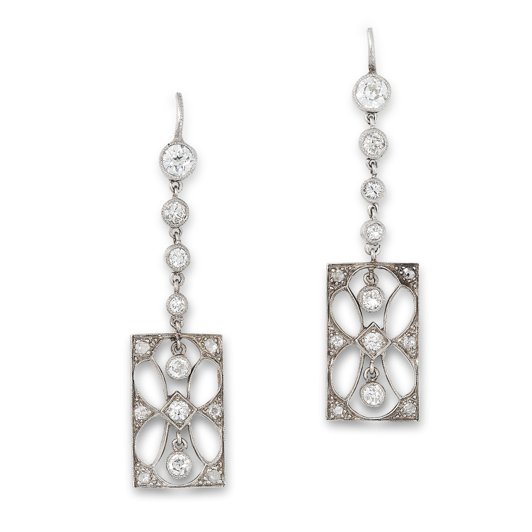 A PAIR OF ART DECO DIAMOND DROP EARRINGS, EARLY 20TH CENTURY the rectangular openwork body of each