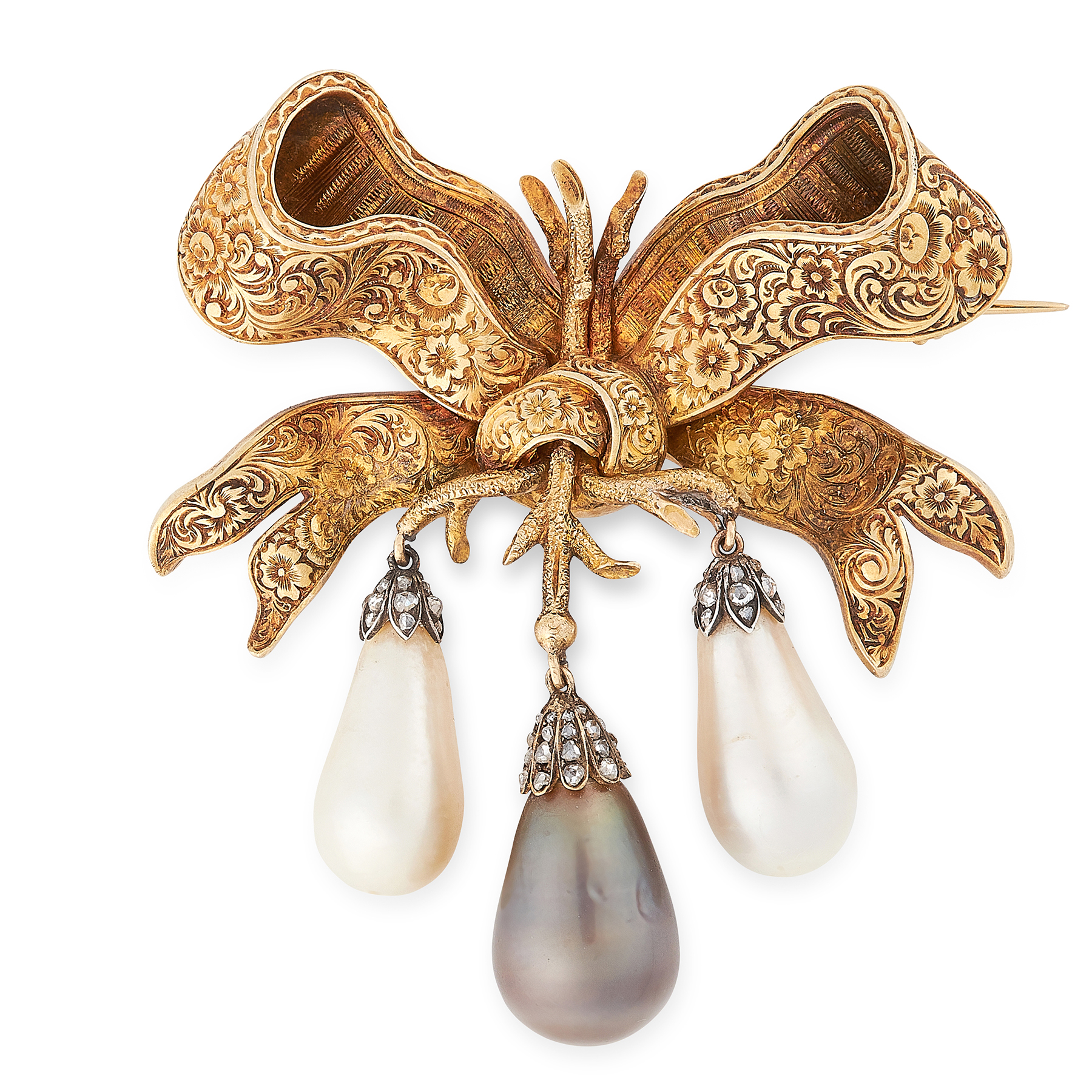 AN IMPORTANT ANTIQUE BLACK AND WHITE NATURAL PEARL AND DIAMOND BROOCH, 19TH CENTURY in yellow