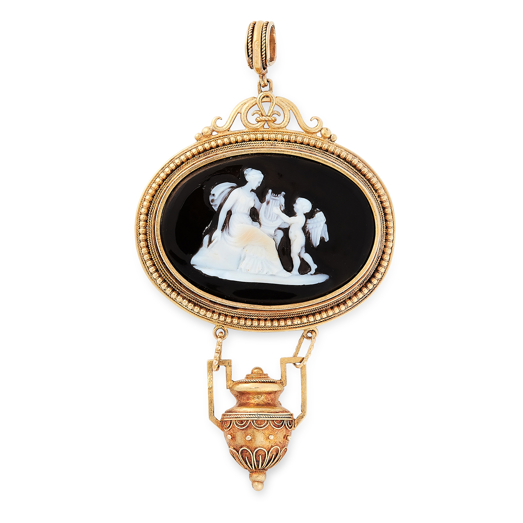 AN ANTIQUE CAMEO PENDANT, 19TH CENTURY in high carat yellow gold, the oval body set with a carved