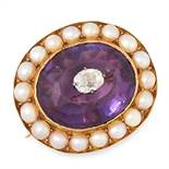 AN ANTIQUE DIAMOND, AMETHYST AND PEARL BROOCH, 19TH CENTURY in yellow gold, set with an oval cut