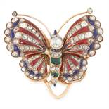 AN ANTIQUE DIAMOND AND ENAMEL BUTTERFLY CLIP BROOCH in yellow gold, designed as a butterfly, its