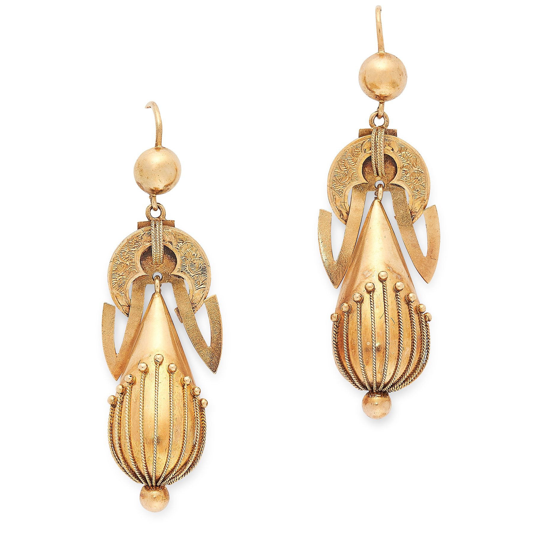 A PAIR OF ANTIQUE DROP EARRINGS, 19TH CENTURY in yellow gold, each formed of a tapering drop with