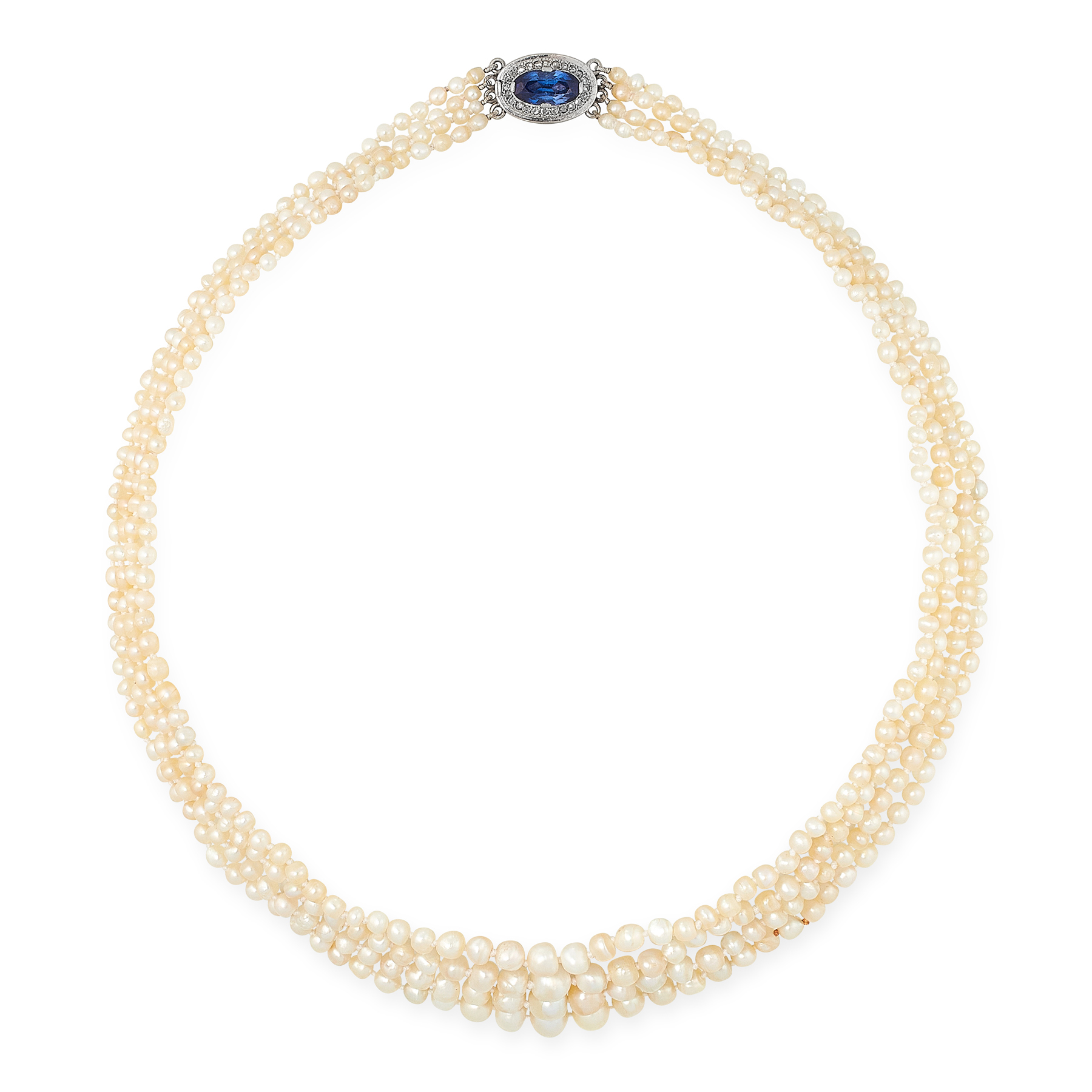 AN ANTIQUE NATURAL PEARL, SAPPHIRE AND DIAMOND NECKLACE comprising four rows of four hundred and