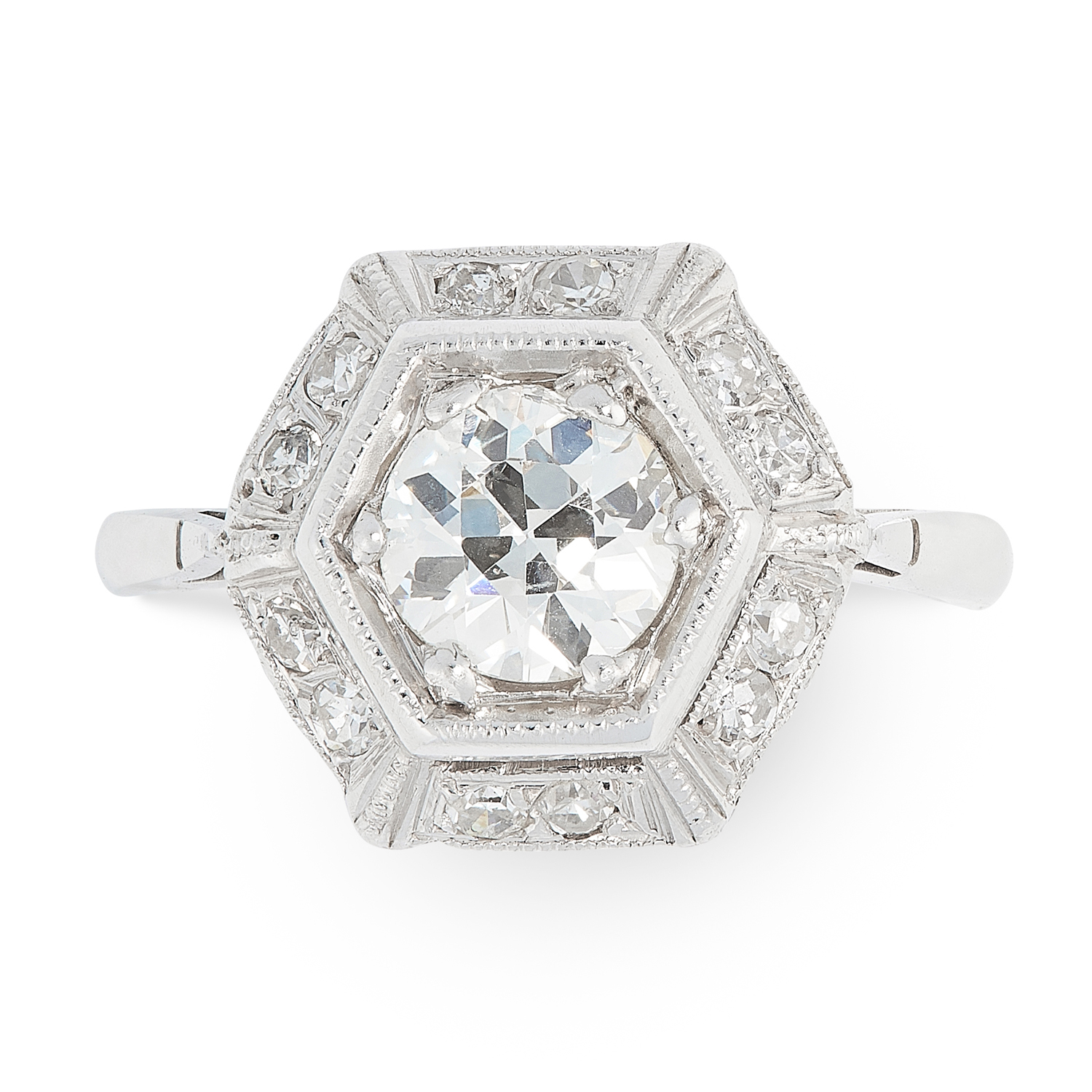 AN ART DECO DIAMOND DRESS RING, EARLY 20TH CENTURY set with a transitional cut diamond of 0.82