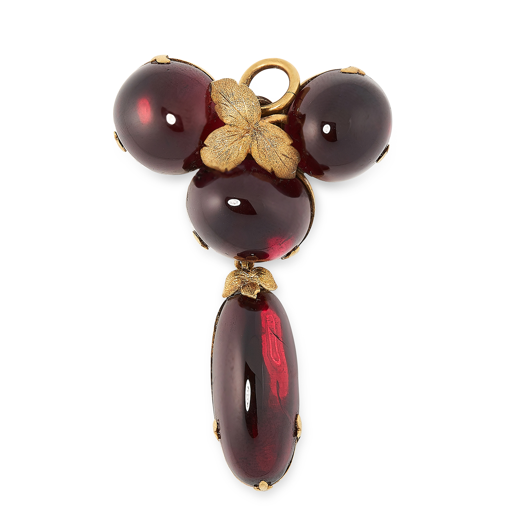 AN ANTIQUE GARNET MOURNING LOCKET BROOCH / PENDANT, 19TH CENTURY in high carat yellow gold, set with