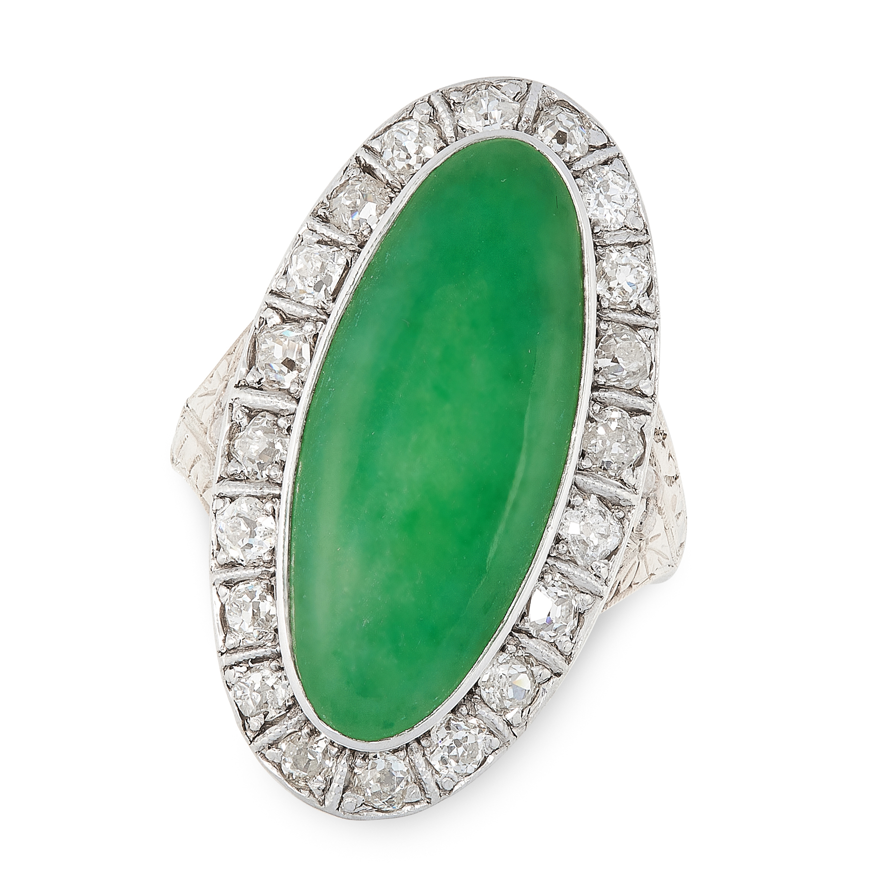 AN ANTIQUE JADEITE JADE AND DIAMOND RING in yellow gold and silver, set with an oval jadeite