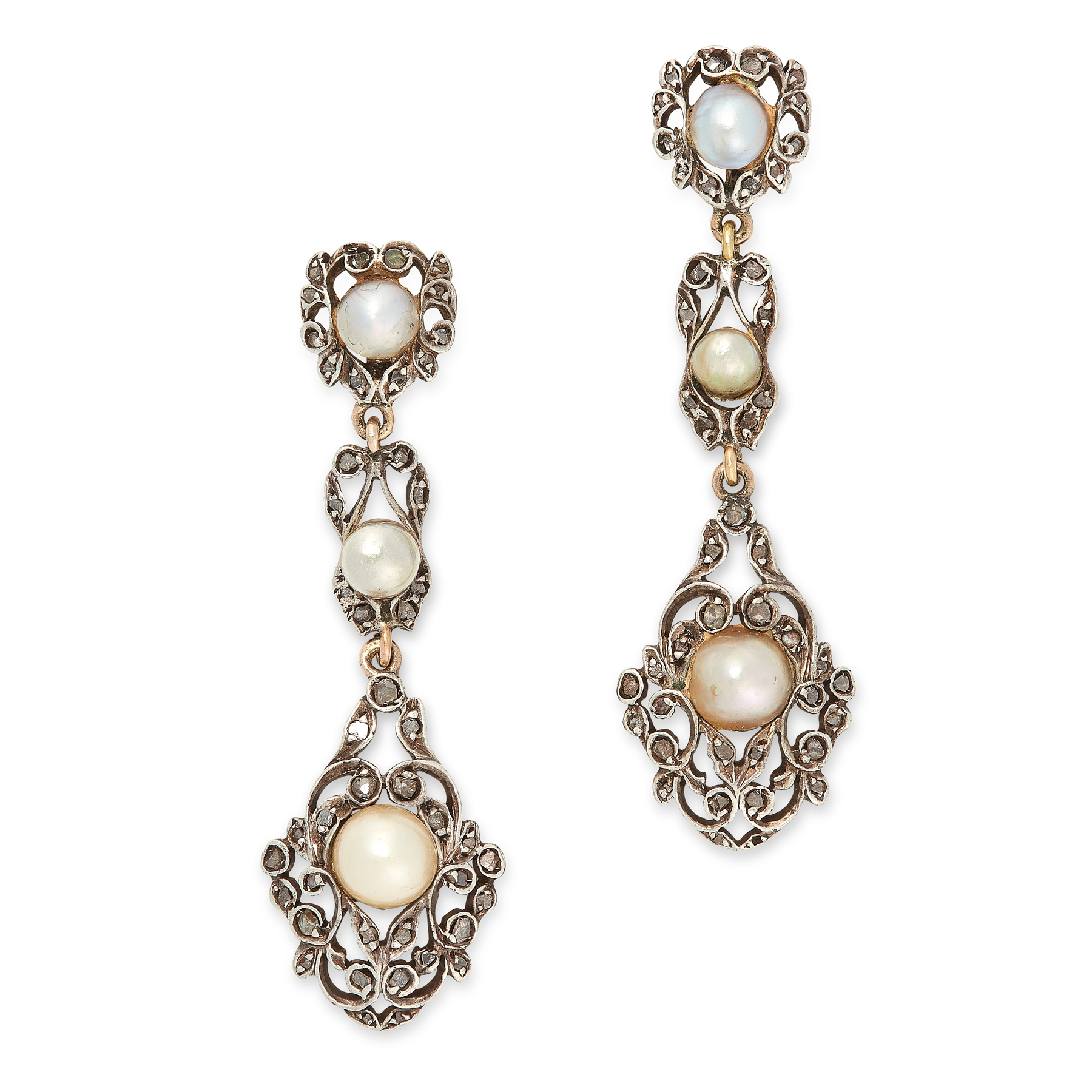 A PAIR OF ANTIQUE PEARL AND DIAMOND EARRINGS in yellow gold and silver, the articulated bodies