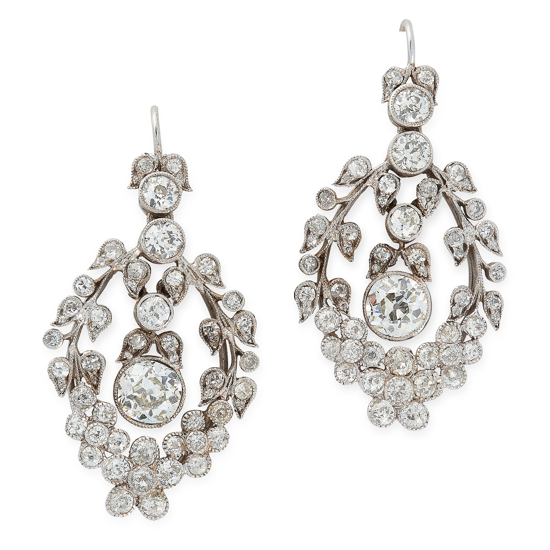 A PAIR OF DIAMOND EARRINGS, EARLY 20TH CENTURY each set with an old round cut diamond of 1.14 and