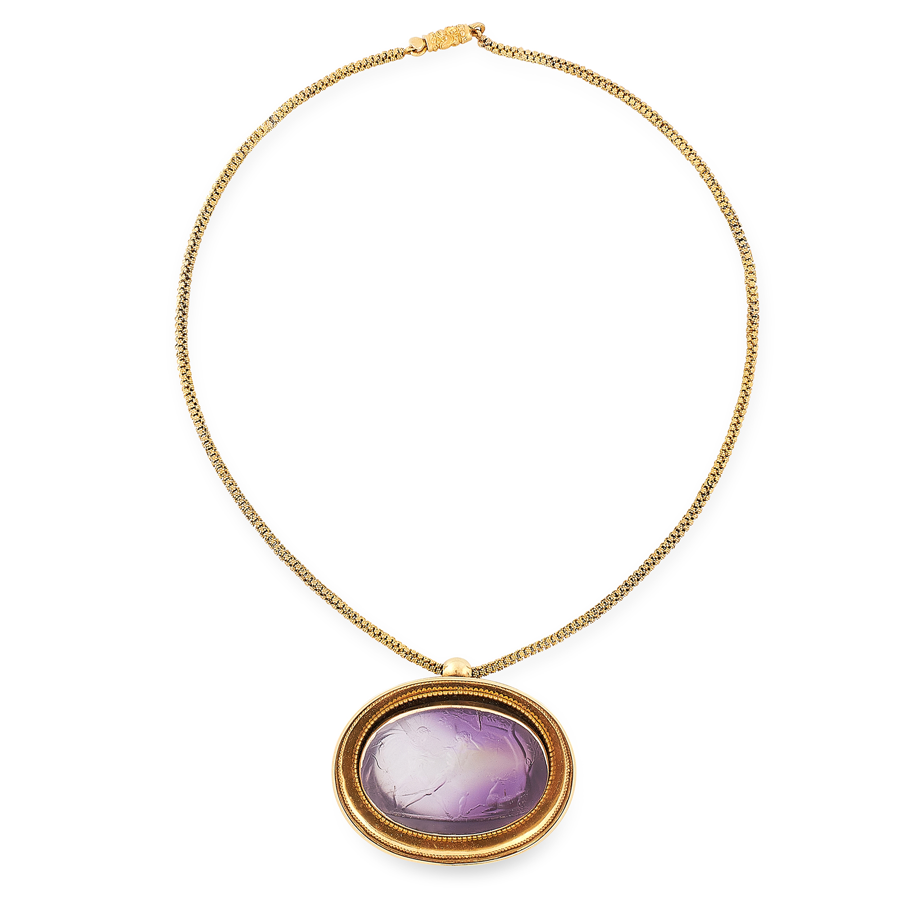 AN ANTIQUE CARVED AMETHYST INTAGLIO PENDANT AND CHAIN, FORMERLY BELONGING TO PRINCE STANISLAS