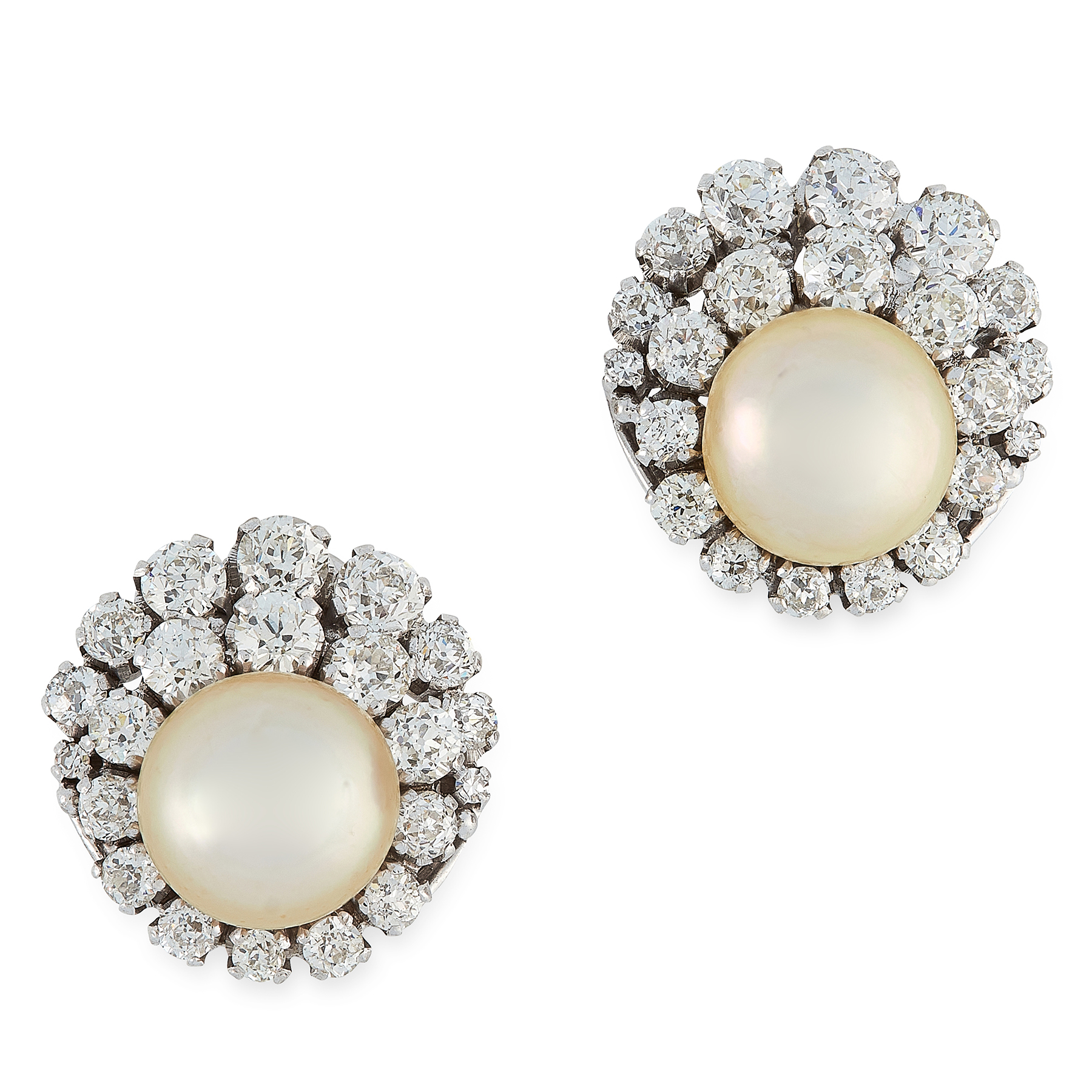A PAIR OF NATURAL PEARL AND DIAMOND EARRINGS in 18ct white gold each set with a pearl of 11.3 and