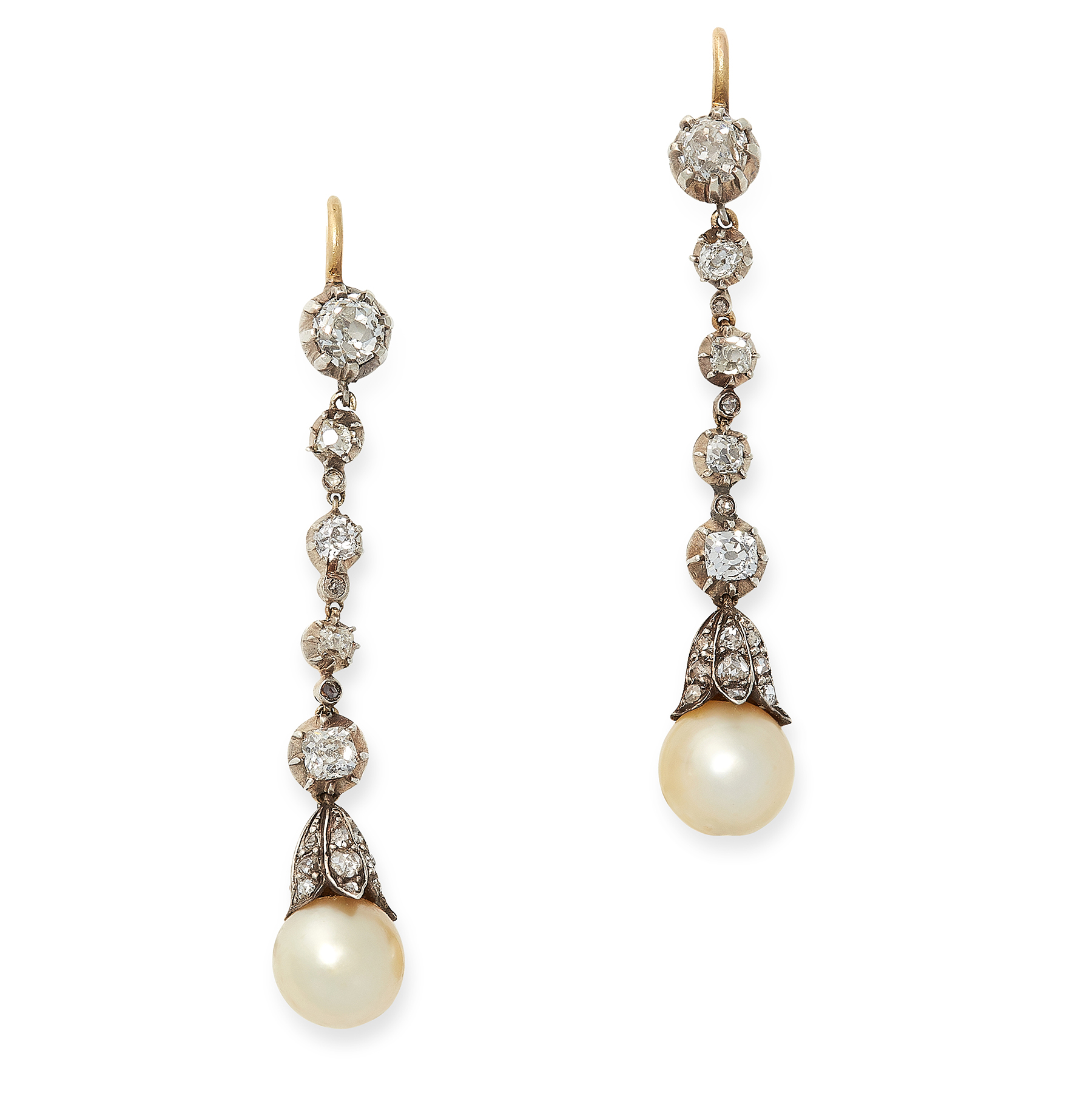 A PAIR OF PEARL AND DIAMOND DROP EARRINGS in yellow gold and silver, each designed as a drop