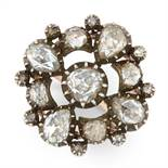 AN ANTIQUE DIAMOND CLUSTER RING, PROBABLY DUTCH 19TH CENTURY in high carat yellow gold and silver,