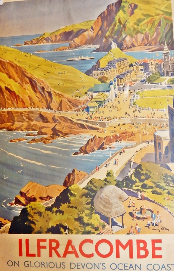 """Lot 42 - Harry Riley (1895-1966)  1950's British Railways advertising poster - """"Ilfracombe on the Glorious"""