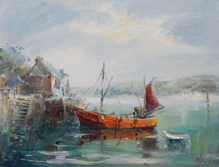 """Lot 18 - Angus Hawkins Oil on board  """"Padstow Quays"""" signed and dated 1978, 56cm x 45cm   Live Bidding: If"""